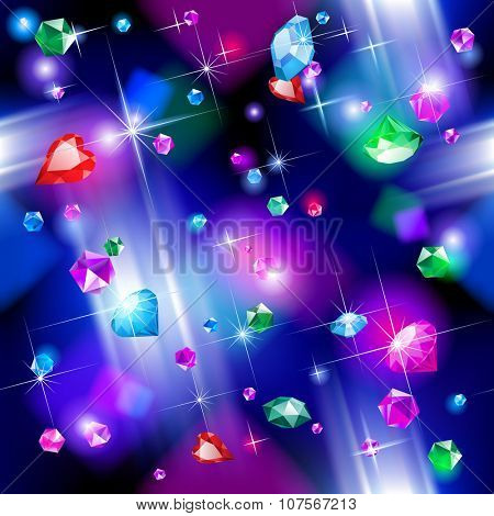 Seamless pattern background of falling full color bright diamonds. Jewelry concept background
