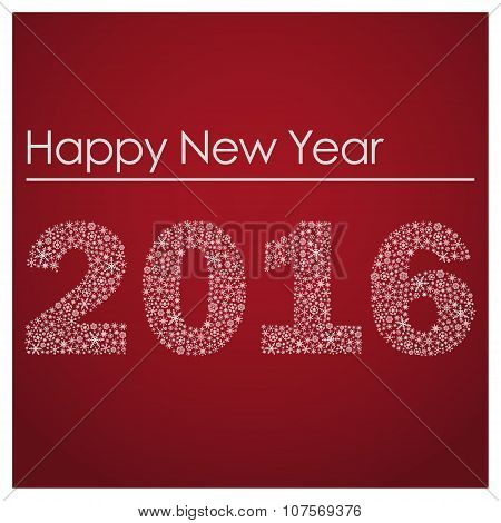 Red Happy New Year 2016 From Little Snowflakes Eps10