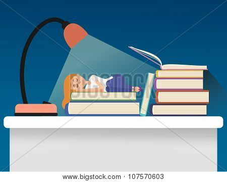 Girl sleeping on books.
