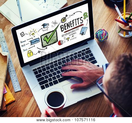 poster of Benefits Gain Profit Earning Income Browsing Technology Concept