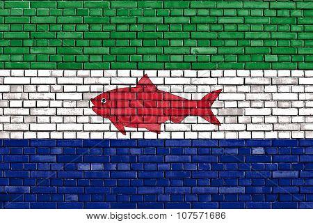 Flag Of Federal Dependencies Of Venezuela Painted On Brick Wall
