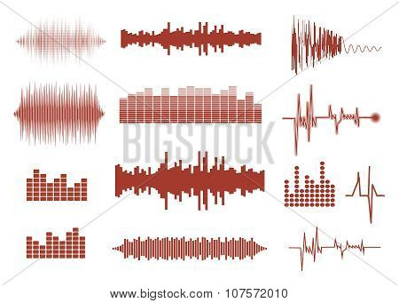 Vector sound waves set. Audio equalizer technology, pulse musical. Vector illustration of music patt