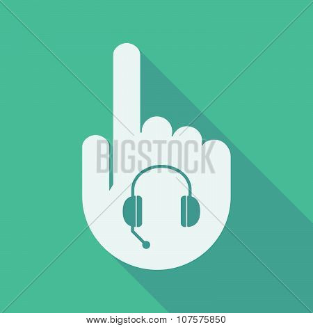 Long Shadow Pointing Finger Hand With  A Hands Free Phone Device