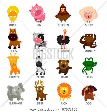 cartoon cute animal set