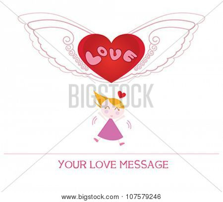 cute cartoon illustration of young woman in love, love card.