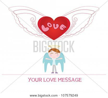 cute cartoon illustration of young angel man in love, love card.