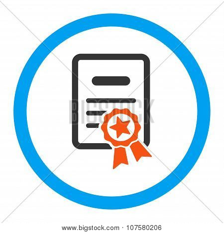 Certified Diploma vector icon. Style is flat rounded symbol, bright colors, rounded angles, white background. poster