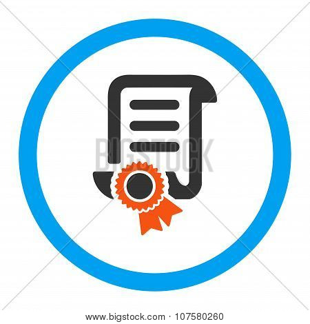 Certified Scroll Document vector icon. Style is flat rounded symbol, bright colors, rounded angles, white background. poster