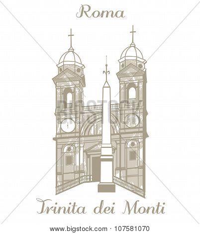 Vector Illustration Of Trinita Dei Monti