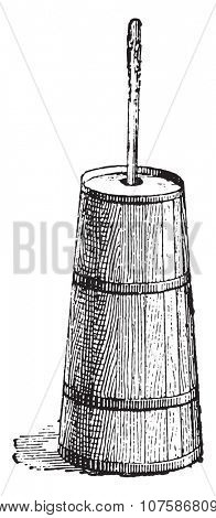 Butter churn, vintage engraved illustration. Dictionary of words and things - Larive and Fleury - 1895.