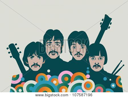 ALTEVEER, THE NETHERLANDS-NOVEMBER 8 2015: The Beatles with instruments, George Harrison, John Lennon, Paul McCartney and Ringo Starr, eps10, vector, illustrative editorial