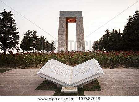 Canakkale Martyrs' Memorial At Sunset With Turkish Flag