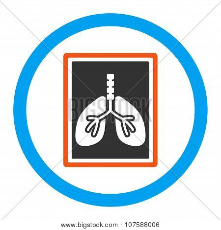 Lungs X-Ray Photo vector icon. Style is flat rounded symbol, bright colors, rounded angles, white background. poster