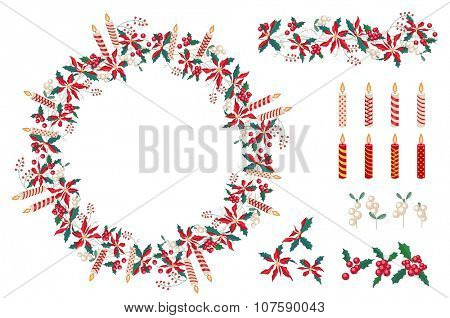Set of different candles  and Christmas decoration isolated on white