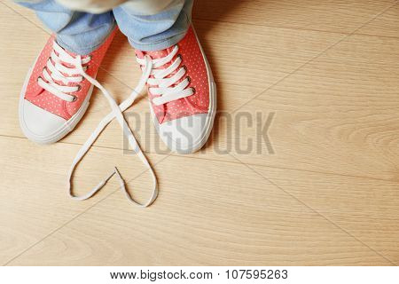 Female feet in gum shoes on wooden floor background poster
