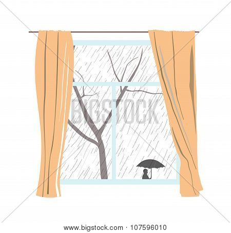 Window with curtains. Rainy cloudy day. Passers hide under umbrellas. Vector illustration.