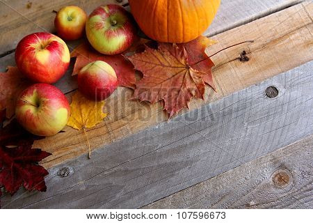 Fresh Apples, Pumpkins, And Maple Leaves Border Wood Background
