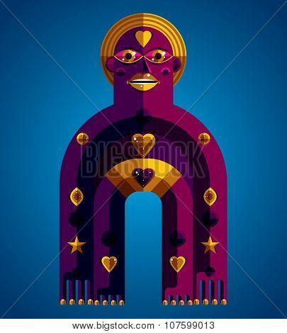 Spiritual Totem Vector Illustration, Meditation Theme Drawing. Anthropomorphic Character, Mystic Ido