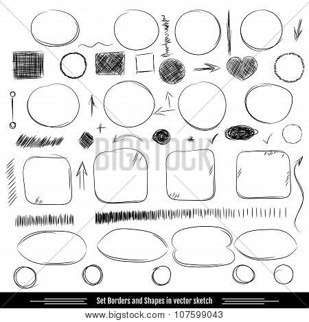 Set borders and shapes. Pencil sketches. Hand drawn scribble shapes A set of doodle line drawings. Vector design elements poster