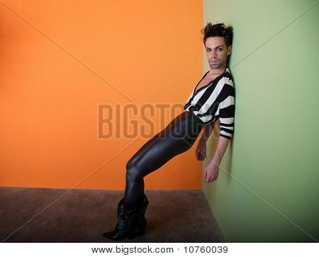Sexy Gay Man Wears Black And White