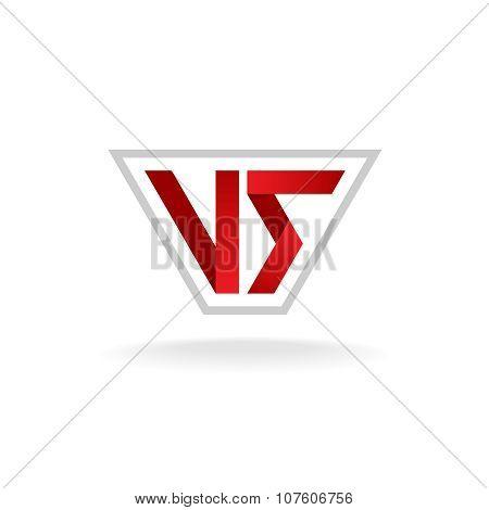 Versus logo. Red VS letters sign in the outline frame. poster