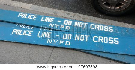 Wooden Police Barricades In The City Of New York