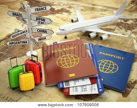 Travel or tourism concept. Passport, airplane, airtickets, baggage and destination sign on the world map. 3d