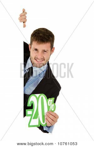 Businessman,  Twenty Percent Discount Sign