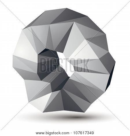 Spatial Vector Monochrome Object Isolated, 3D Technology Figure With Geometric Gray Elements.