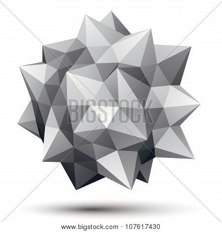 Vector Digital 3D Abstraction, Geometric Polygonal Element. Spatial Technological Contrast Shape