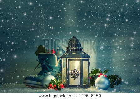 Christmas lantern with a shoe and Christmas decorations in the night.