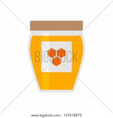 Honey icon. Honey jar with cover and honeycomb logo.