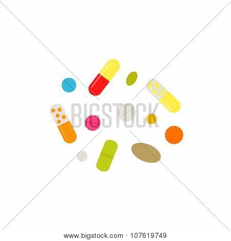 Pills set. Isolated pills icons on white background.