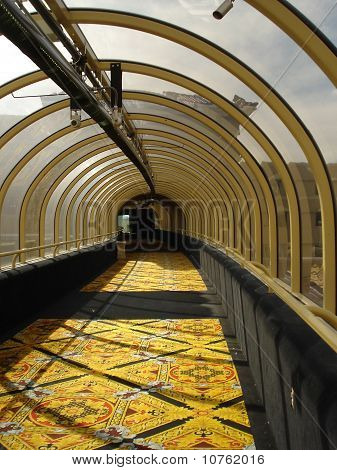 Sunlit walkway at Wendover, Nv.