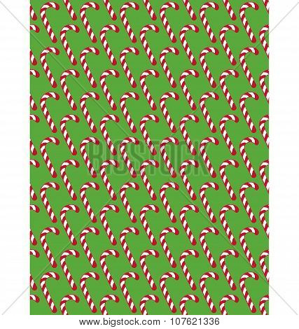 Seamless Christmas Pattern With Candy Cane Stick Isolated On Gre