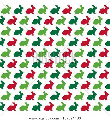 Seamless Christmas Pattern With Rabbits Isolated On White