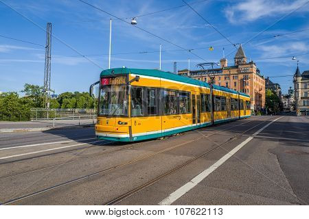 Famous yellow trams of Norrkoping, Sweden