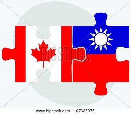 Canada And Taiwan Flags