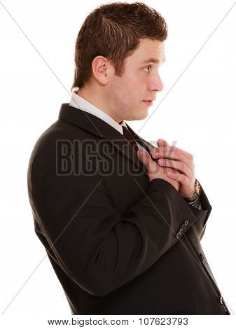 Desperate Man Asking Forgiveness Beseeching Help