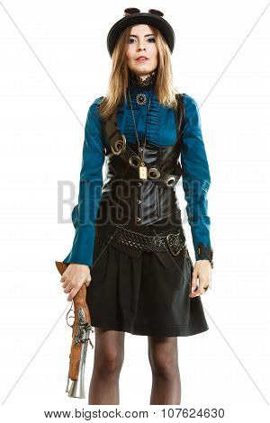 Young steampunk islolated girl on white wearing fancy hat. Fantasy old fashion with stylish bowler and goggle. poster