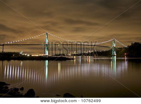 Lions Gate Bridge Lights at Night