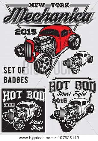 Set Of  Badges With Hot Rod