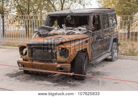 Front View Of The Burned Large Suv