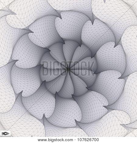 Torsion And Rotation Movement. Vector Art. Mosaic. 3D Abstract Illustration.