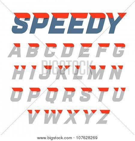 Speedy style, dynamic alphabet. Vector.