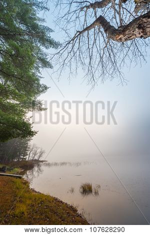 Morning fog on a lake in Northern Ontario, Canada