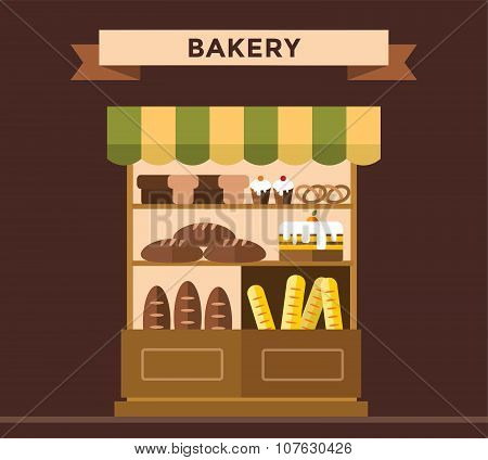 Bakery shop stall with bakery products