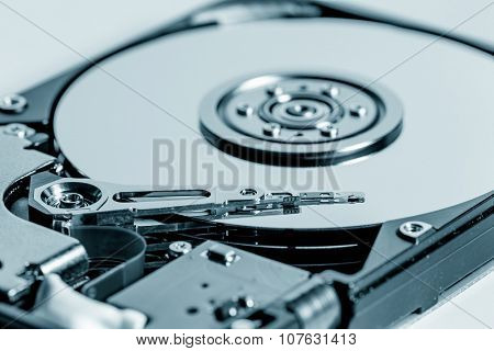 Inside of internal Harddrive HDD on white background