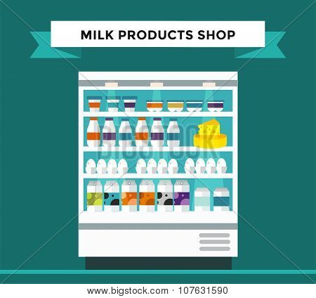 Milk products shop stall with