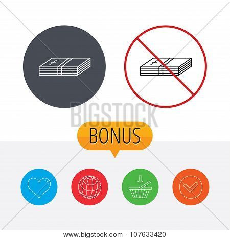 Cash icon. Pound money sign. GBP currency symbol. Shopping cart, globe, heart and check bonus buttons. Ban or stop prohibition symbol. poster
